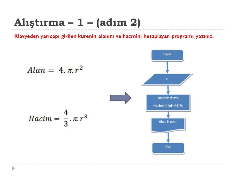 Alıştırma – 1 – (adım 2) Klavyeden yarıçapı girilen kürenin alanını ve hacmini hesaplayan programı yazınız.