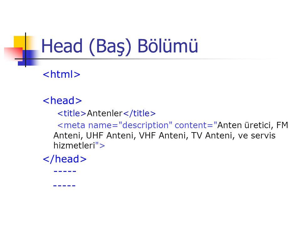 Head (Baş) Bölümü <html>