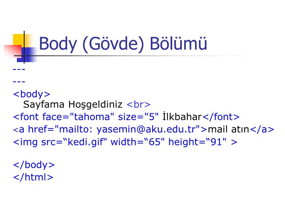 Body (Gövde) Bölümü --- <body> Sayfama Hoşgeldiniz <br>