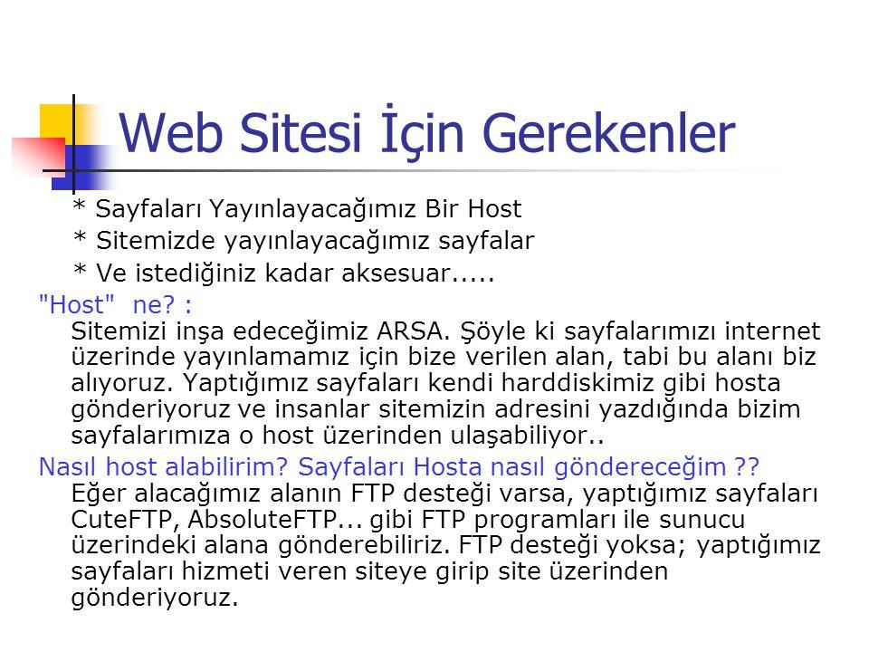 Web Sitesi İçin Gerekenler