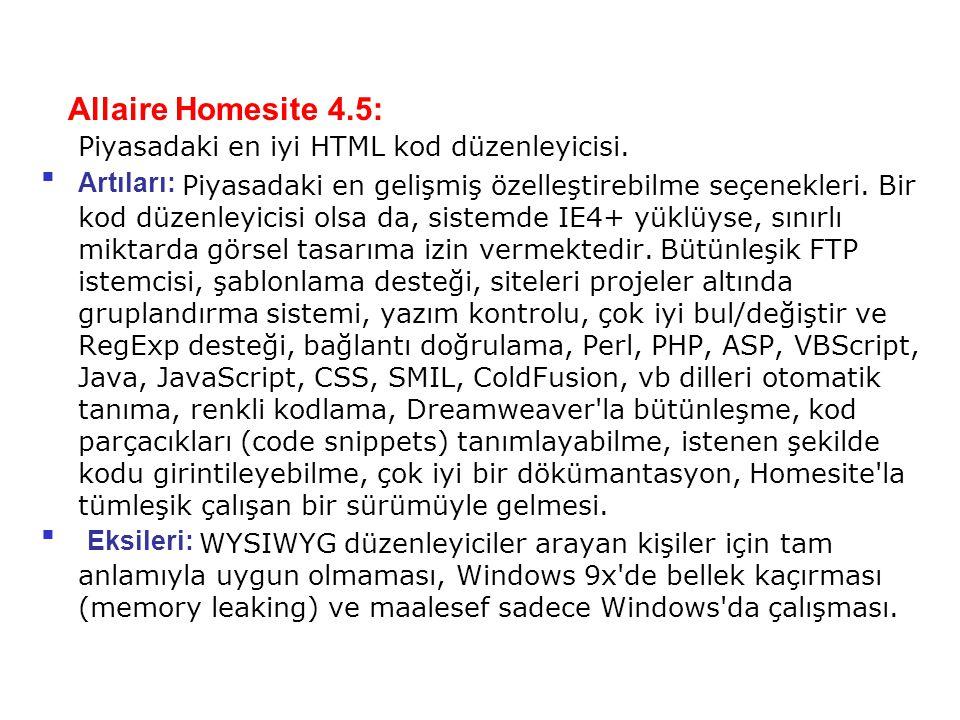 Allaire Homesite 4.5: Piyasadaki en iyi HTML kod düzenleyicisi.
