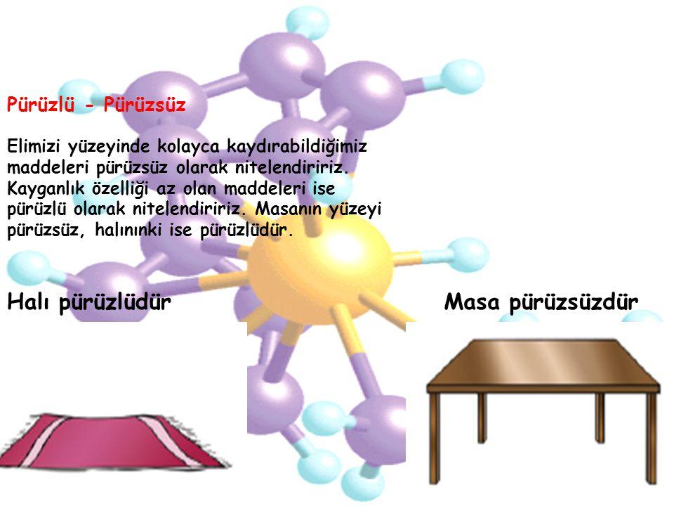 Elimizi yüzeyinde kolayca kaydırabildiğimiz maddeleri pürüzsüz olarak nitelendiririz. Kayganlık özelliği az olan maddeleri ise pürüzlü olarak nitelendiririz. Masanın yüzeyi pürüzsüz, halınınki ise pürüzlüdür.