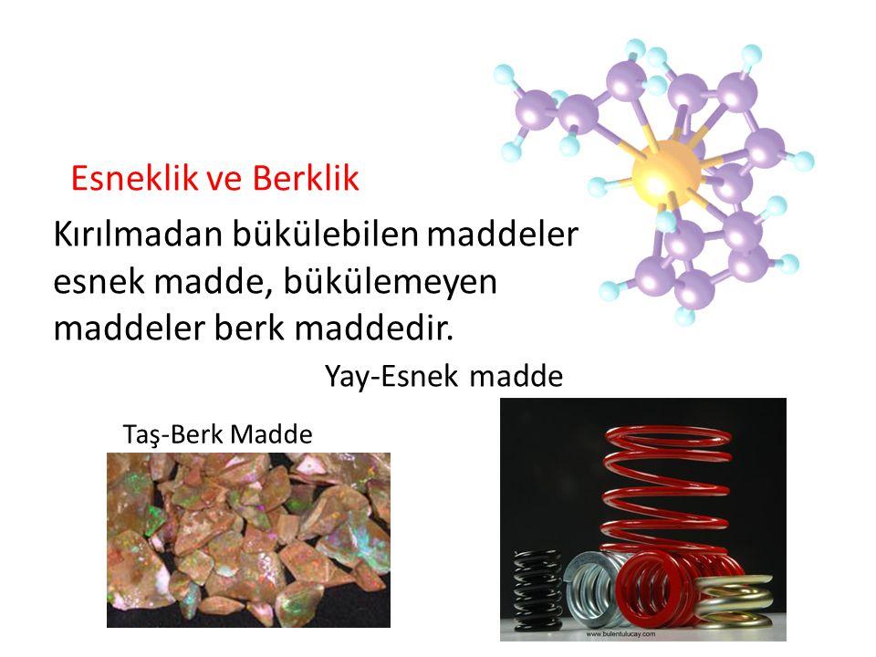 Esneklik ve Berklik Kırılmadan bükülebilen maddeler esnek madde, bükülemeyen maddeler berk maddedir. Yay-Esnek madde.