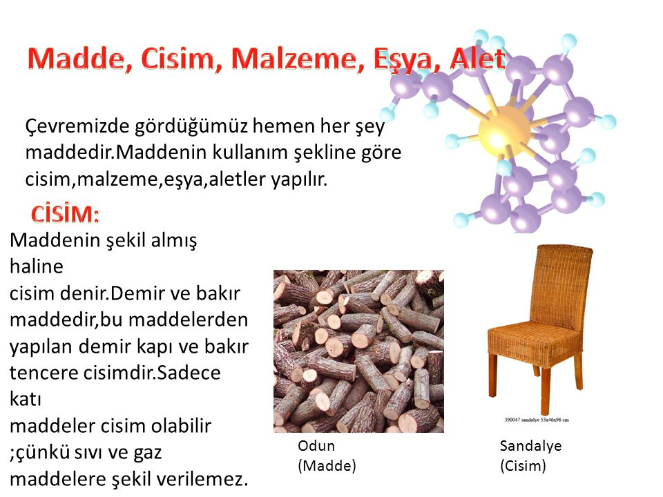 Madde, Cisim, Malzeme, Eşya, Alet