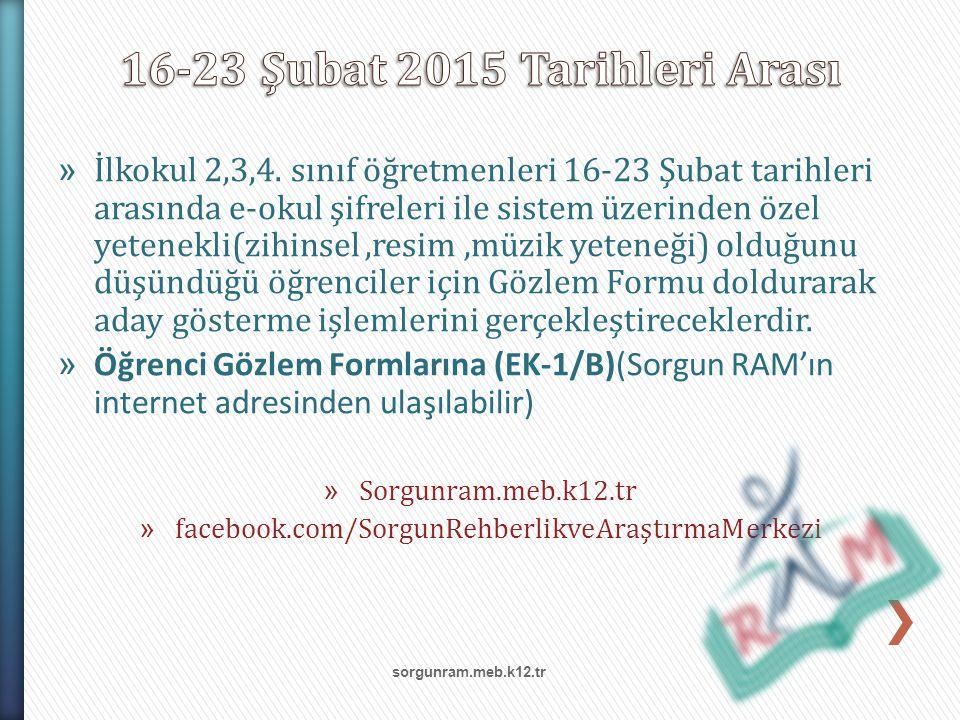 16-23 Şubat 2015 Tarihleri Arası