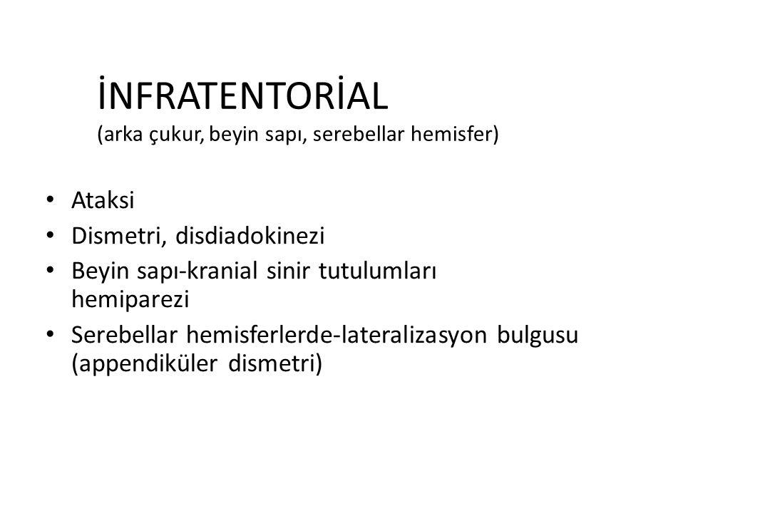İNFRATENTORİAL (arka çukur, beyin sapı, serebellar hemisfer)
