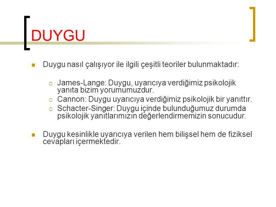 DUYGU Duygu nasıl çalışıyor ile ilgili çeşitli teoriler bulunmaktadır: