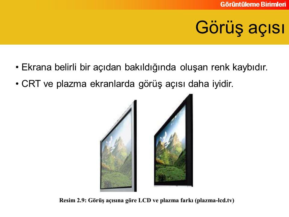 Görüş açısı Ekrana belirli bir açıdan bakıldığında oluşan renk kaybıdır.