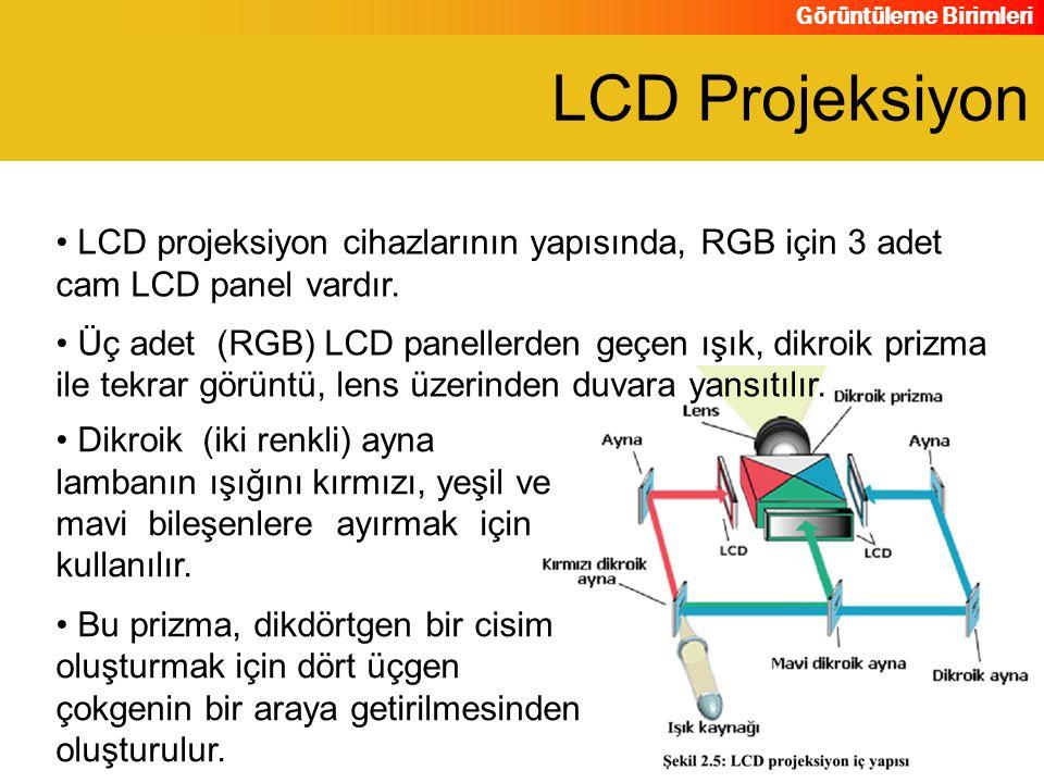 LCD Projeksiyon LCD projeksiyon cihazlarının yapısında, RGB için 3 adet cam LCD panel vardır.