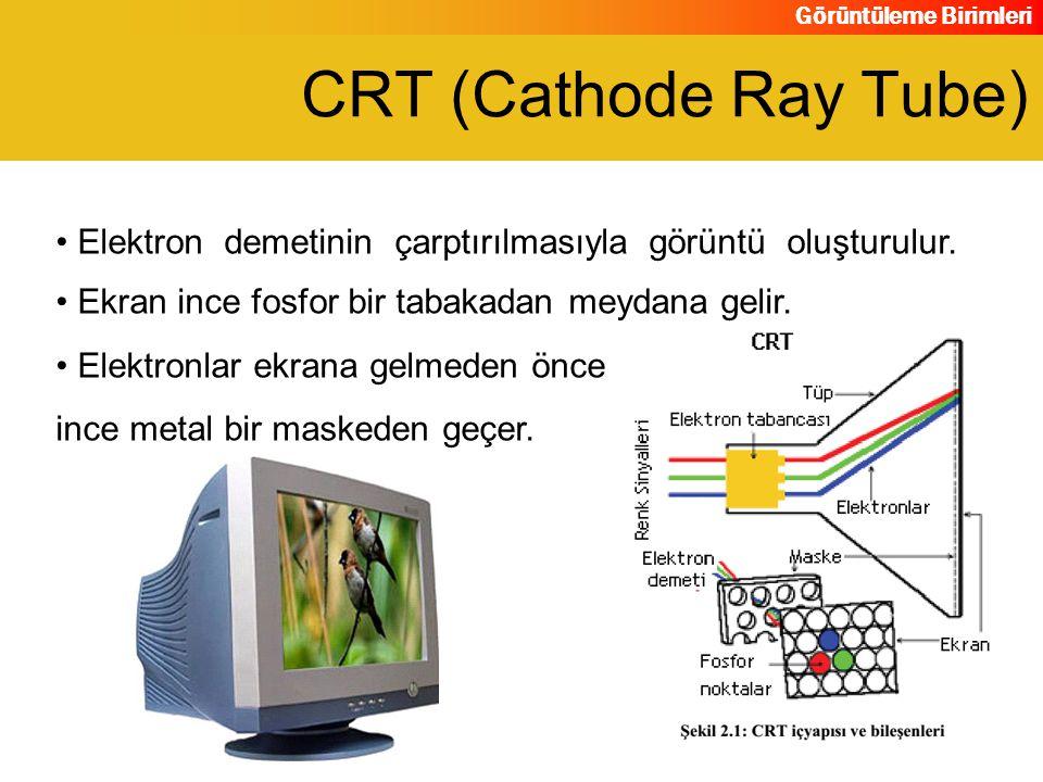 CRT (Cathode Ray Tube) Elektron demetinin çarptırılmasıyla görüntü oluşturulur. Ekran ince fosfor bir tabakadan meydana gelir.