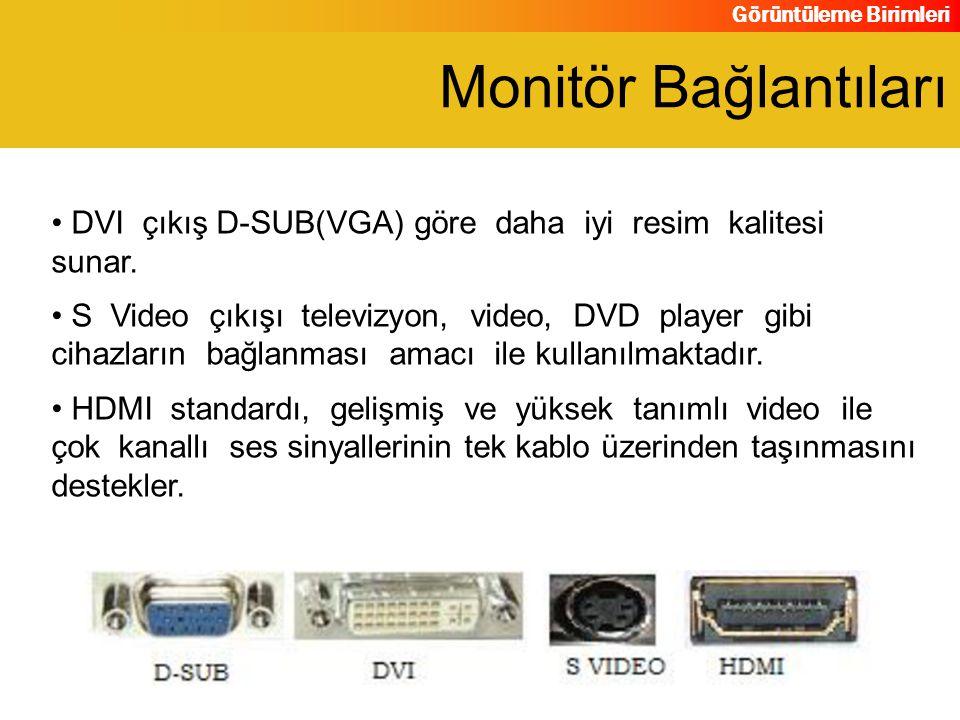 Monitör Bağlantıları DVI çıkış D-SUB(VGA) göre daha iyi resim kalitesi sunar.