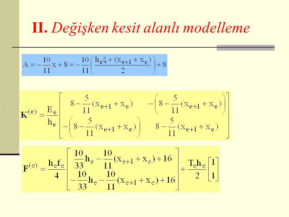 II. Değişken kesit alanlı modelleme
