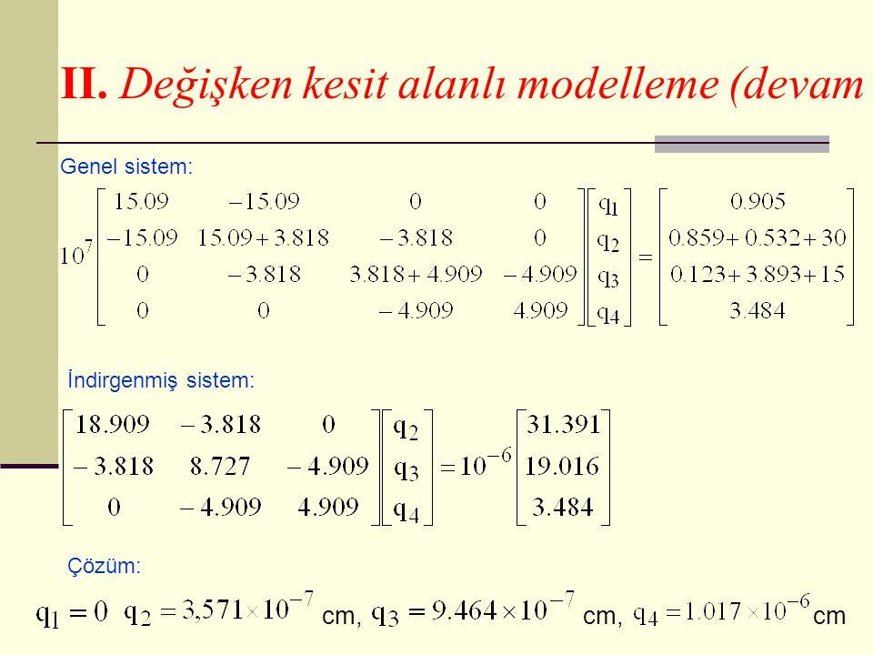 II. Değişken kesit alanlı modelleme (devam