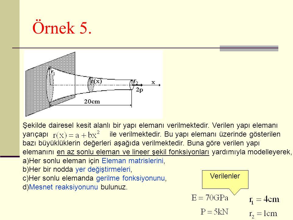 Örnek 5. Şekilde dairesel kesit alanlı bir yapı elemanı verilmektedir. Verilen yapı elemanı.