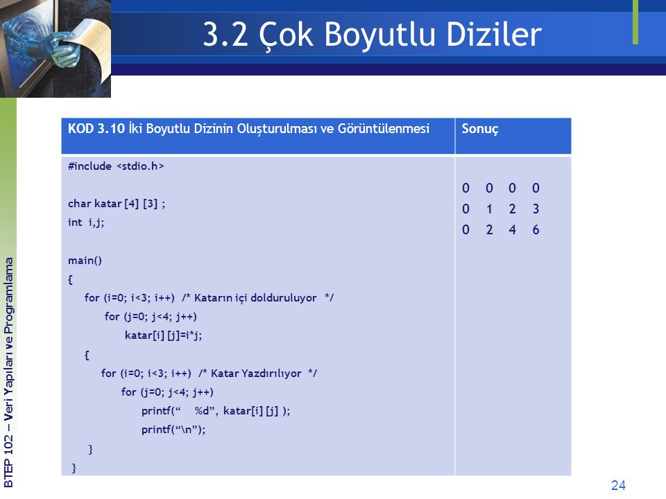 3.2 Çok Boyutlu Diziler KOD 3.10 İki Boyutlu Dizinin Oluşturulması ve Görüntülenmesi. Sonuç. #include <stdio.h>