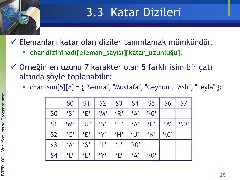 3.3 Katar Dizileri Elemanları katar olan diziler tanımlamak mümkündür.