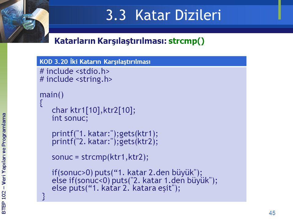 3.3 Katar Dizileri # include <stdio.h>