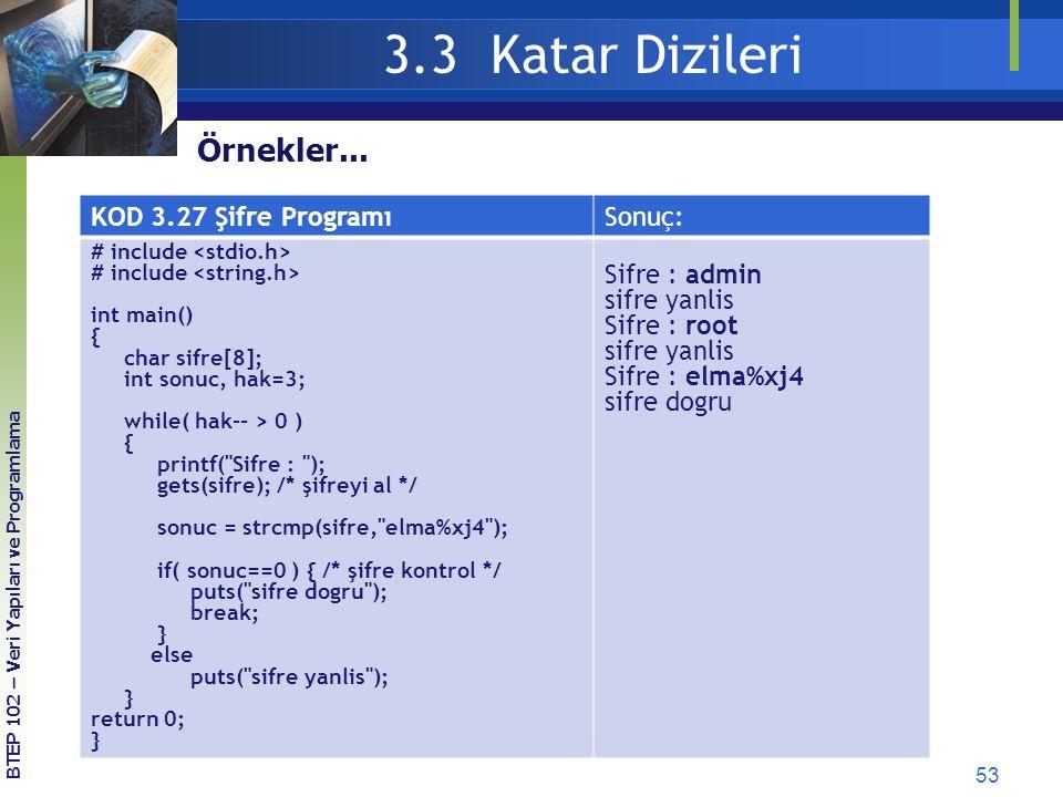 3.3 Katar Dizileri Örnekler... KOD 3.27 Şifre Programı Sonuç: