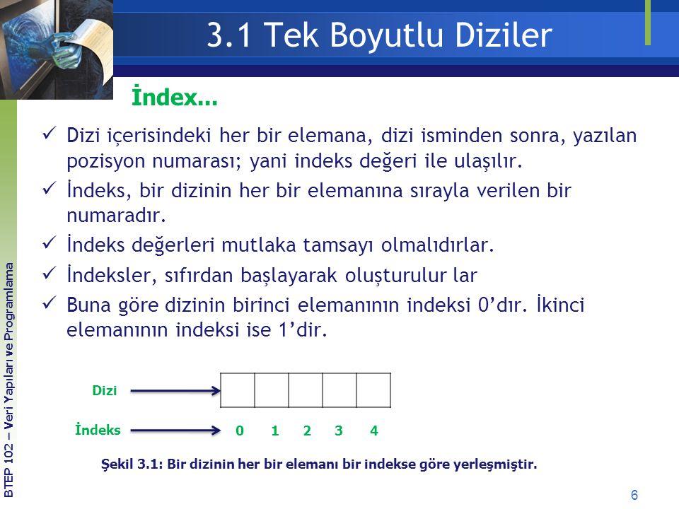 3.1 Tek Boyutlu Diziler İndex...