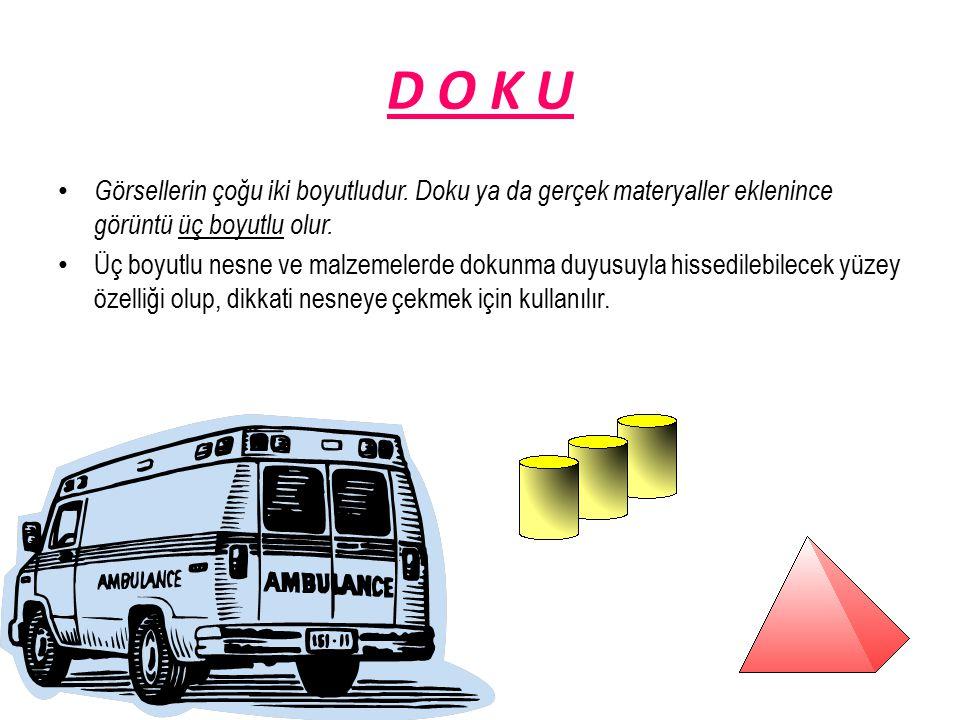 D O K U Görsellerin çoğu iki boyutludur. Doku ya da gerçek materyaller eklenince görüntü üç boyutlu olur.