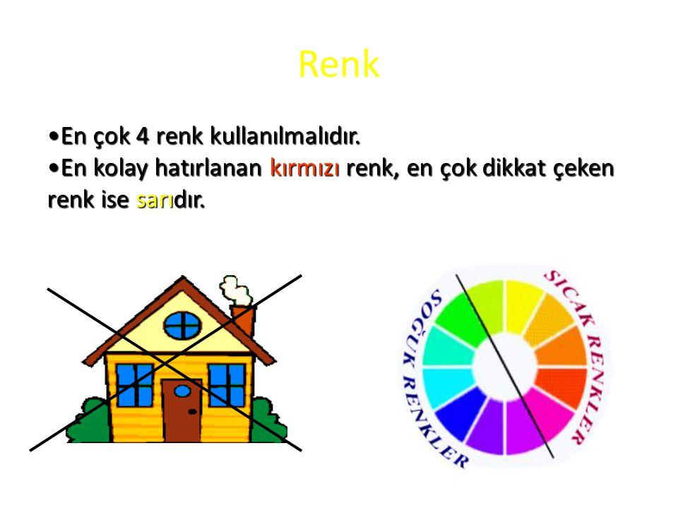 Renk En çok 4 renk kullanılmalıdır.