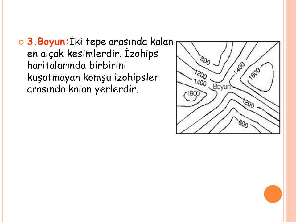 3. Boyun:İki tepe arasında kalan en alçak kesimlerdir
