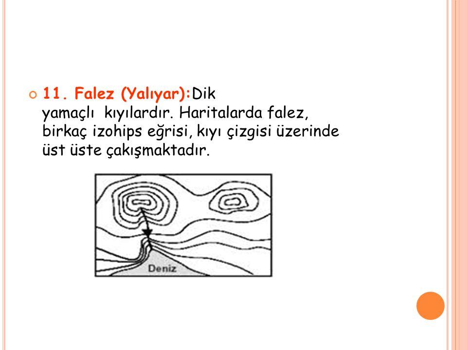 11. Falez (Yalıyar):Dik yamaçlı kıyılardır