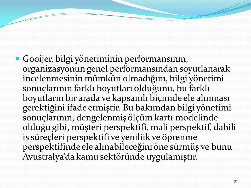 Gooijer, bilgi yönetiminin performansının, organizasyonun genel performansından soyutlanarak incelenmesinin mümkün olmadığını, bilgi yönetimi sonuçlarının farklı boyutları olduğunu, bu farklı boyutların bir arada ve kapsamlı biçimde ele alınması gerektiğini ifade etmiştir.