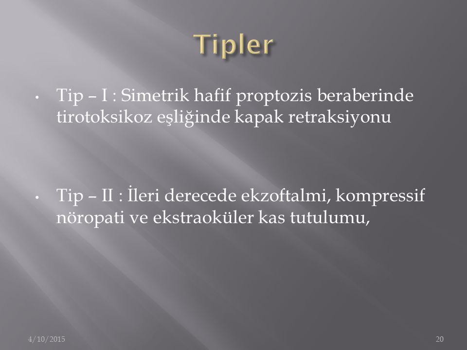 Tipler Tip – I : Simetrik hafif proptozis beraberinde tirotoksikoz eşliğinde kapak retraksiyonu.