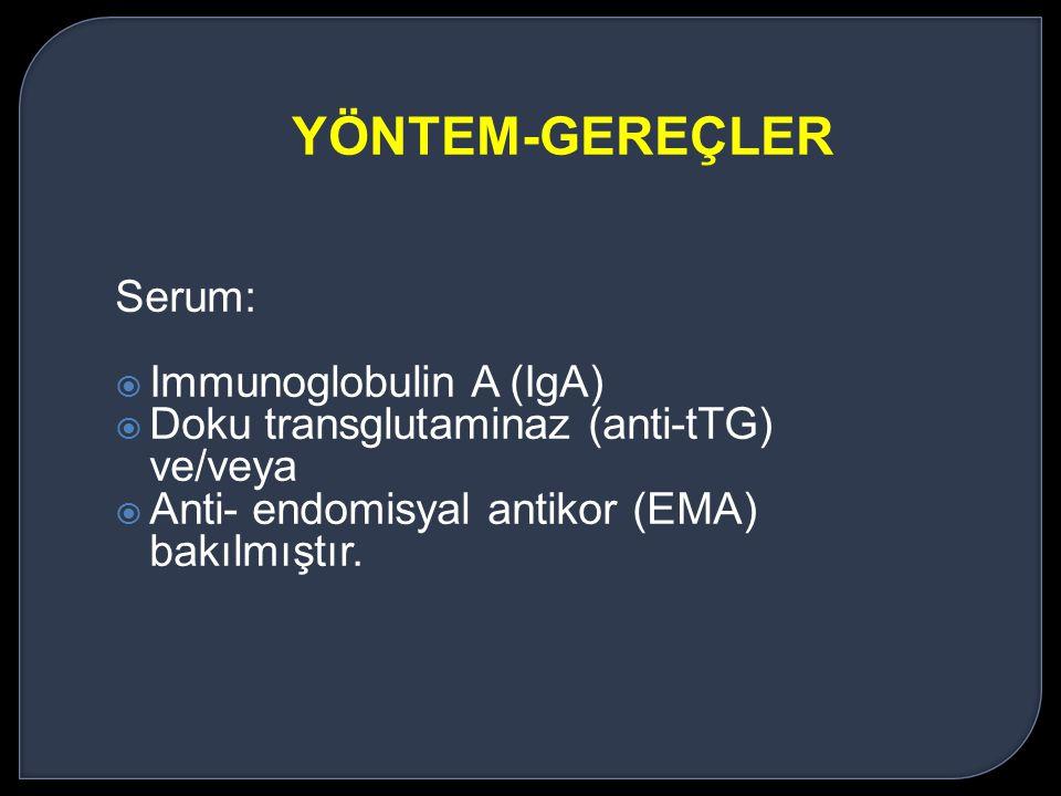 YÖNTEM-GEREÇLER Serum: Immunoglobulin A (IgA)