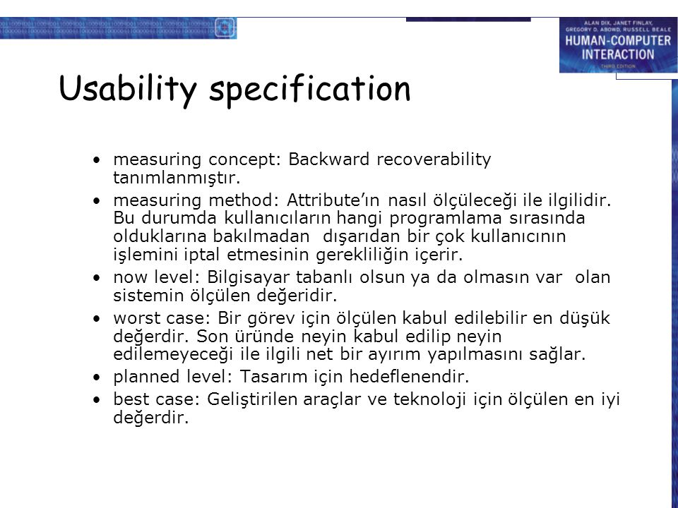 Usability specification