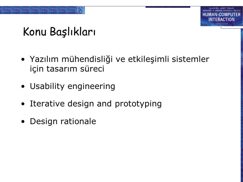 Konu Başlıkları Yazılım mühendisliği ve etkileşimli sistemler için tasarım süreci. Usability engineering.