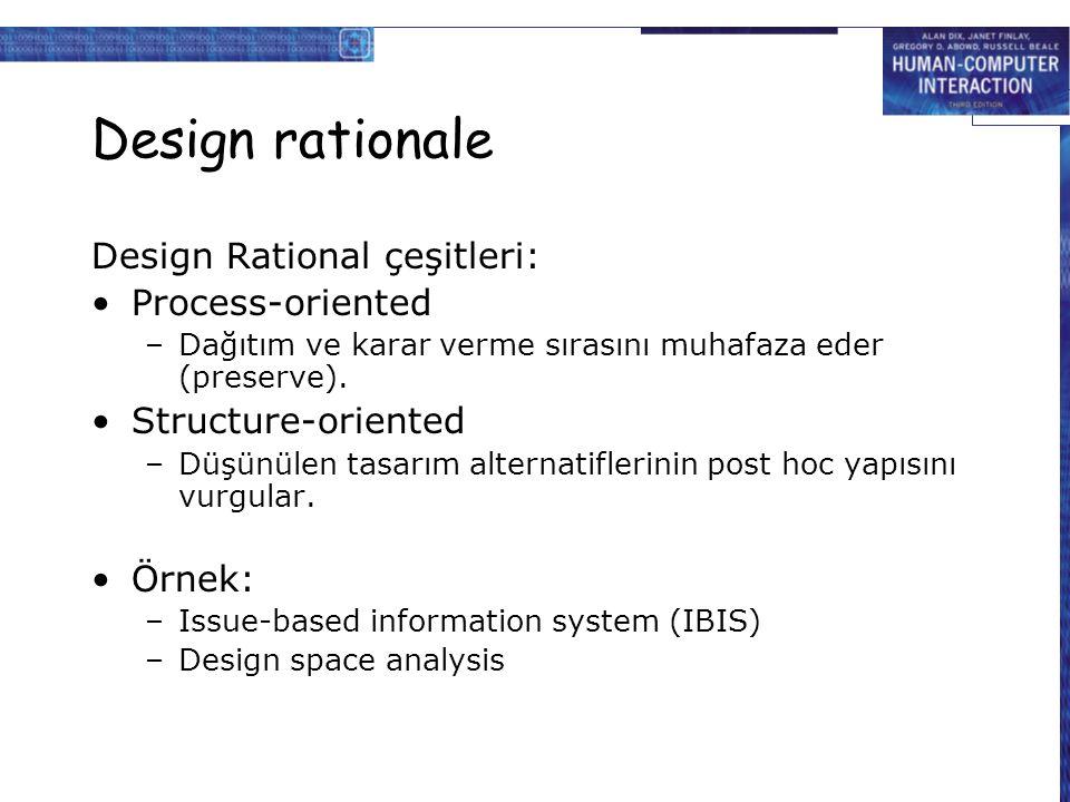 Design rationale Design Rational çeşitleri: Process-oriented