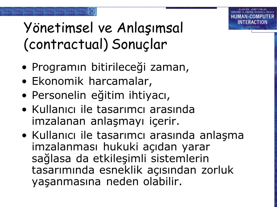 Yönetimsel ve Anlaşımsal (contractual) Sonuçlar