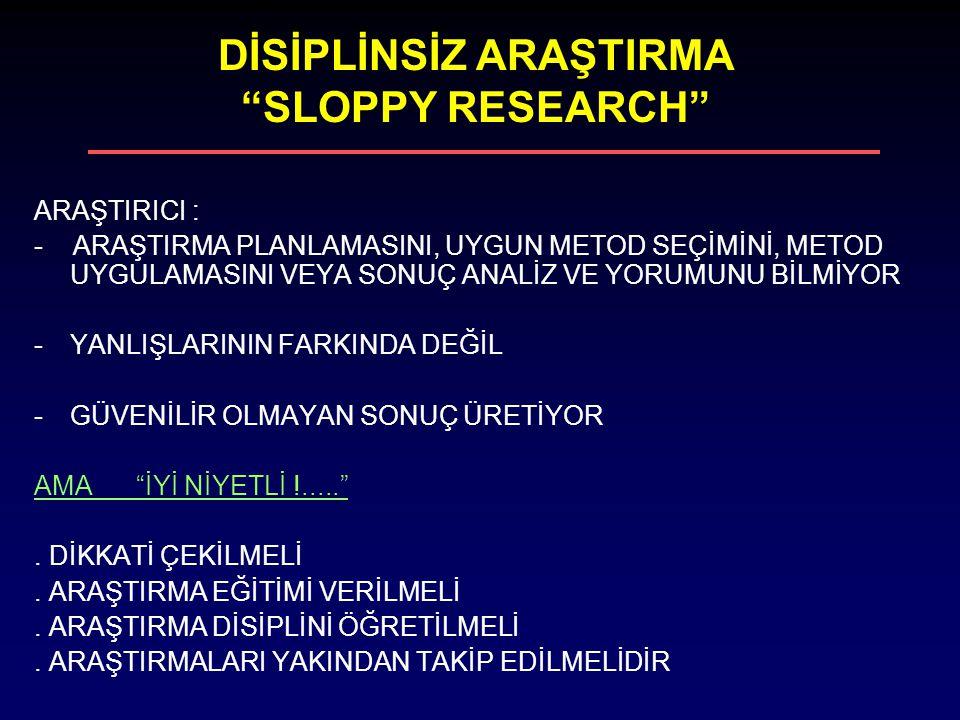 DİSİPLİNSİZ ARAŞTIRMA SLOPPY RESEARCH