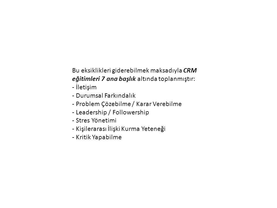 Bu eksiklikleri giderebilmek maksadıyla CRM eğitimleri 7 ana başlık altında toplanmıştır: