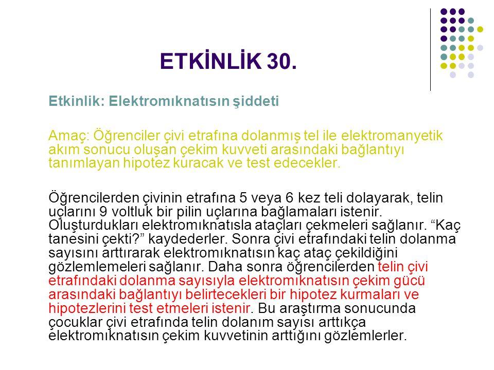 ETKİNLİK 30. Etkinlik: Elektromıknatısın şiddeti