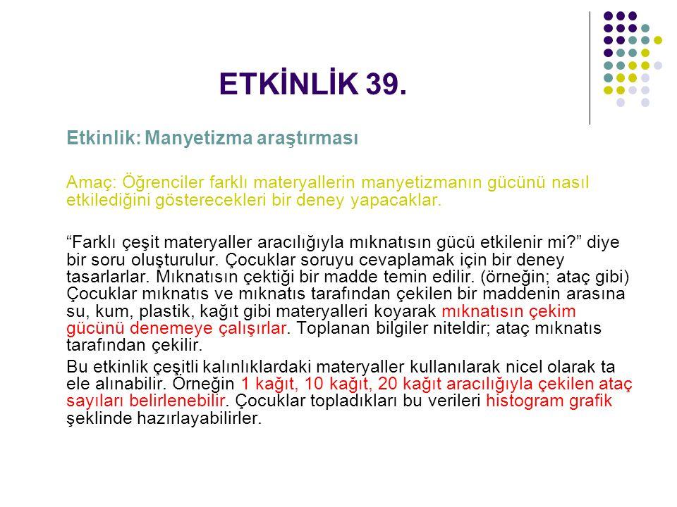 ETKİNLİK 39. Etkinlik: Manyetizma araştırması