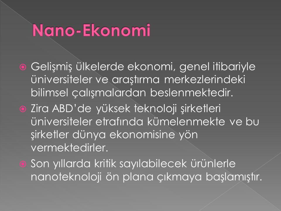 Nano-Ekonomi Gelişmiş ülkelerde ekonomi, genel itibariyle üniversiteler ve araştırma merkezlerindeki bilimsel çalışmalardan beslenmektedir.