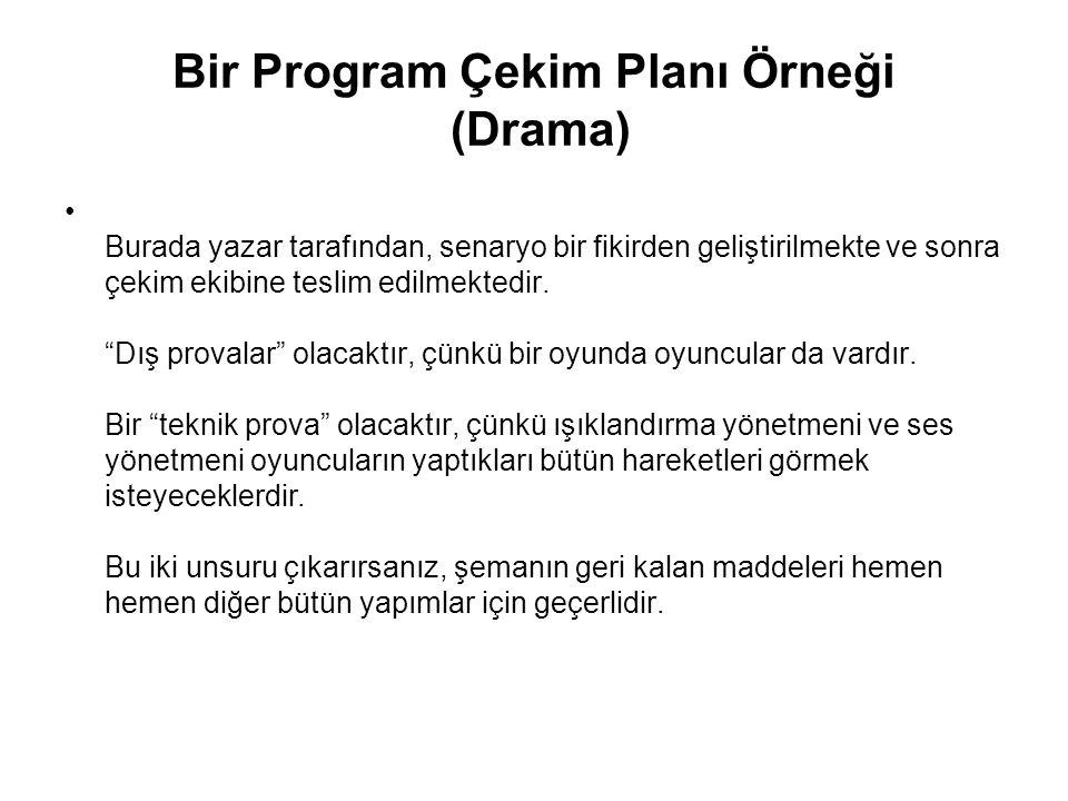 Bir Program Çekim Planı Örneği (Drama)