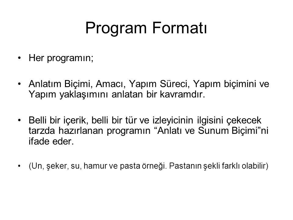 Program Formatı Her programın;