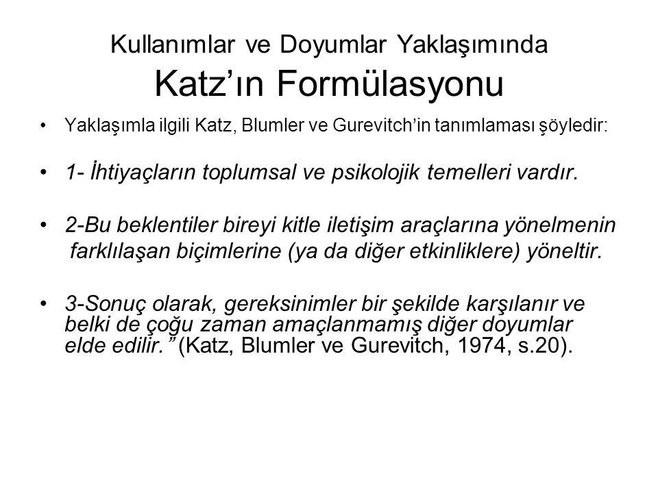 Kullanımlar ve Doyumlar Yaklaşımında Katz'ın Formülasyonu