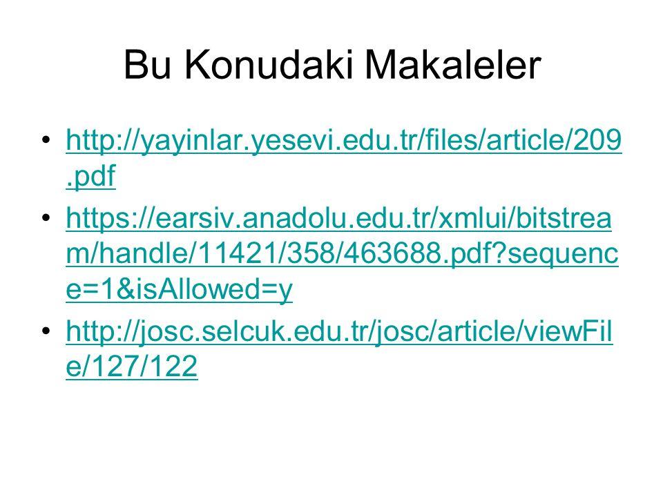 Bu Konudaki Makaleler http://yayinlar.yesevi.edu.tr/files/article/209.pdf.