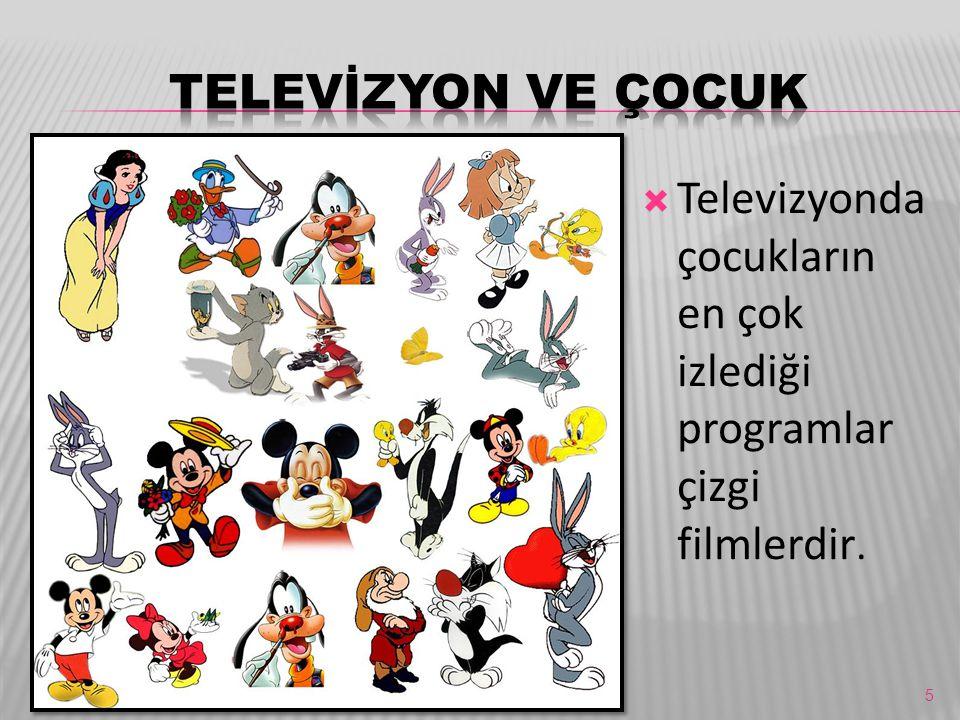 TELEVİZYON VE ÇOCUK Televizyonda çocukların en çok izlediği programlar çizgi filmlerdir.