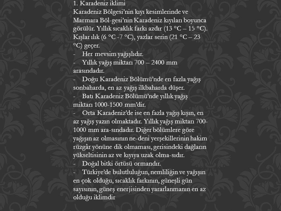 1. Karadeniz iklimi