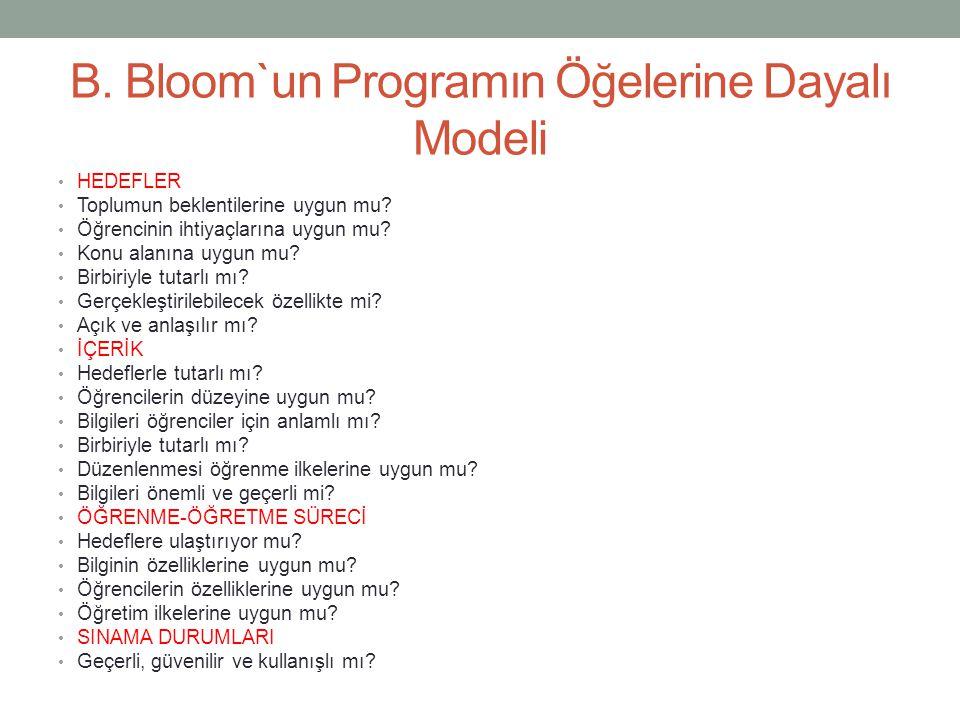 B. Bloom`un Programın Öğelerine Dayalı Modeli