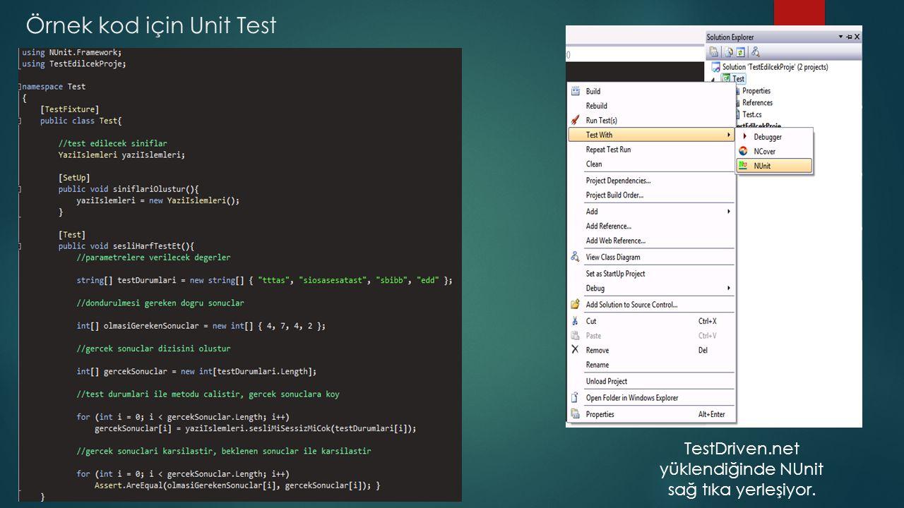 Örnek kod için Unit Test