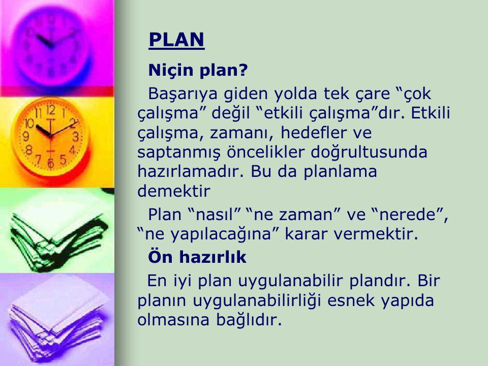 PLAN Niçin plan