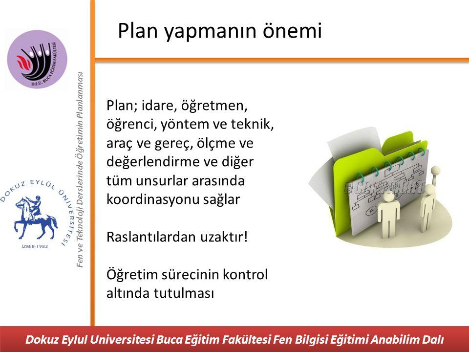 Plan yapmanın önemi Fen ve Teknoloji Derslerinde Öğretimin Planlanması.