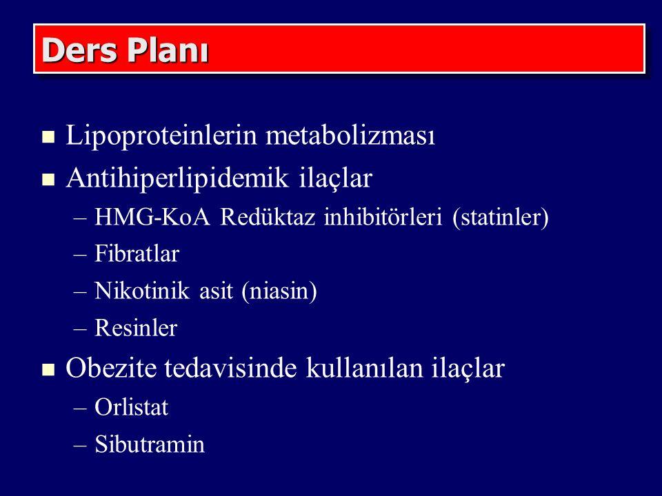 Ders Planı Lipoproteinlerin metabolizması Antihiperlipidemik ilaçlar